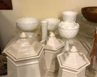Various milk glass and canister set