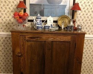 Antique Pine Jelly cupboard, Tole lamps, Blue Willow coffee pot, creamer, sugar, silver plated service pieces