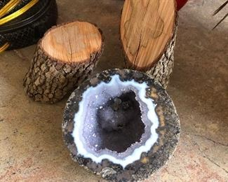 Wood pieces and geode