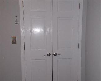 Double wooden closet doors