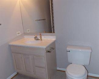 Powder room vanity  strip lights  toilet