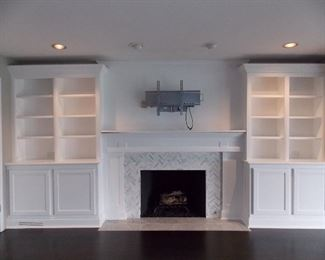 Fireplace mantel  bookcases