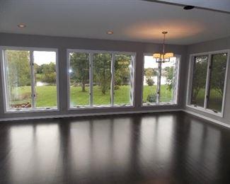 Pella Windows   Reclaimed Oak wide plank floors  light fixture
