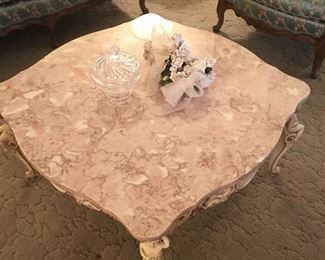 Marvelous Vintage Marble top hand carved base coffee table