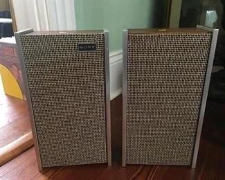 mid century SONY speakers about 14 '' high