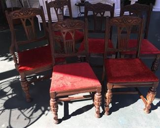 1920  set of 6 oak chairs dining