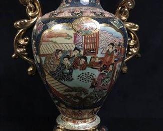 005SH Satsuma Geisha Vase with Handles