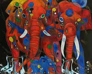 020SH- Jiang Tiefeng 'Elephant Family' Serigraph 118/300.png