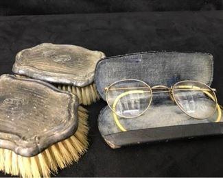 315gAntique Glasses  Clothing Brushes