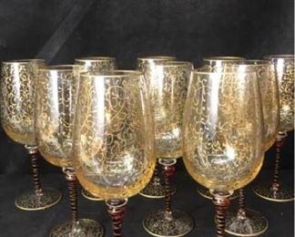 330gTen Handpainted Wine Glasses