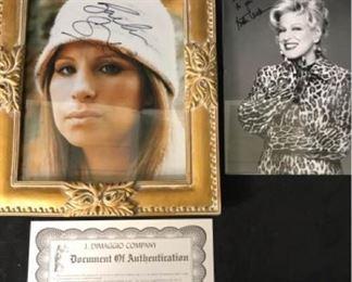 Bette Midler & Barbara Streisand Signed Photos