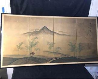 376gJapanese 4 Panel Screen  Hangers