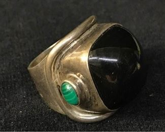 392gSterling Onyx  Malachite Ring