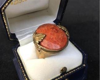 394gCarnelian  Brass Set Ring