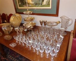 Etched Glasses Set for 10 Place Setting, Large Pressed Glass Pitcher, 4 Tier Silver Plate Serving piece