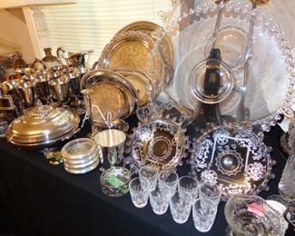Silver Overlay, Candlewick, Various Silver Plate Serving Pieces