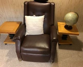 MASSAGE CHAIR  & TWO END TABLES, GLOBE