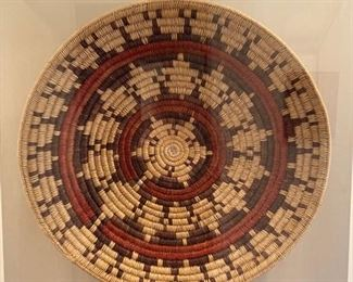 Incredible antique Navajo Indian woven wedding basket, purchased at the Heard Museum in Arizona.  This basket is over 2' in diameter and is in a museum quality plexiglass case with linen backing
