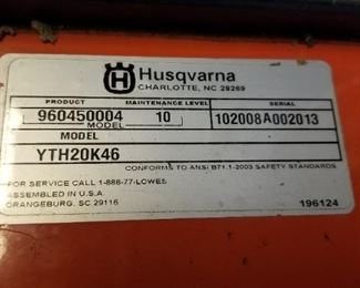 Husqvarna YTH20K46 Riding Mower deck is removed and is used as a tractor