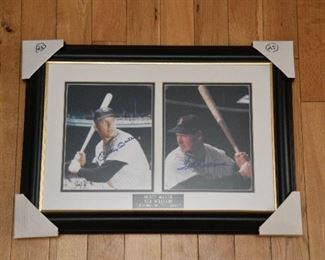 Mickey Mantle and Ted Williams signed photos with authenticity.