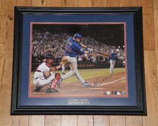 Kerry Wood signed 16 x 20 playoffs home run photo with authenticity.
