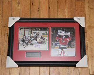 Corey Crawford signed Stanley Cup Champs photo tribute with authenticity.