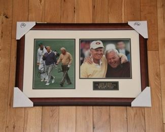 Arnold Palmer and Jack Nicklaus double signed, rare at the Masters, photo with authenticity.