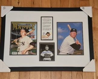 Mickey Mantle autographed over sized photo tribute with authenticity.