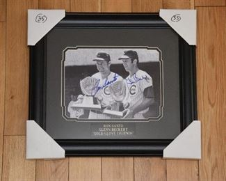 Ron Santo and Glenn Beckert double signed Cubs legends photo with authenticity.