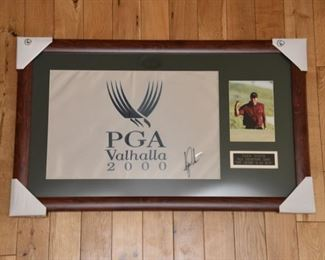Tiger Woods signed PGA Champion 2000 golf pin flag with authenticity.