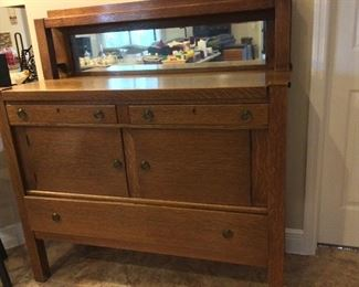 "Buffet with Mirrored Top, 48"" W x 51 1/2"" W x 20"" D."
