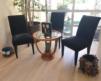 Beyer Custom Upholstered Parsons Chairs. Roche Bobois Accent Table. Pottery Planters - owner believes them to be by Maija Peeples.