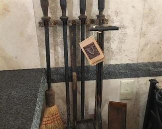 Jan Barboglio Hand Wrought Iron Fireplace Set and Match Tin.