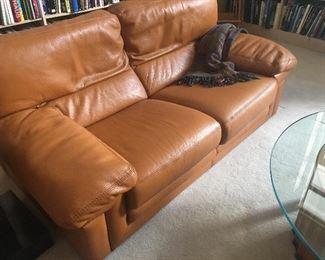 Roche Bobois Cognac Italian Leather Small Sofa.
