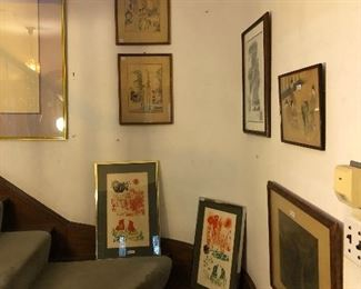 Japanese wood block and other prints and paintings