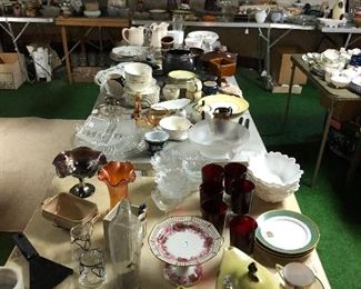 Tables of collectible ceramics, glass, pottery, metalwares antiques etc in basement half off on Saturday and 75% off on Sunday!