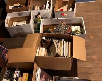 Boxes of books just put out new in attic