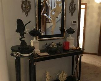 Marble Top Console, Pedestal, Urns on Pedestals, Wall Mirror