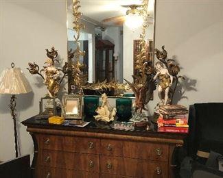 Six Drawer Chest, Venetian Mirror, Hollywood Regency Lamps