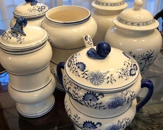 Blue and White Onion Pattern Cannister Set