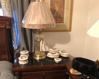 Stanley Nightstand, Covered Boxes, Table Lamp