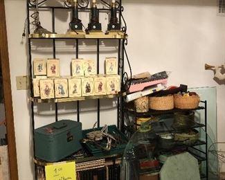 International Santas,  LPs, Sewing, Buttons, Lamps, Bakers Racks