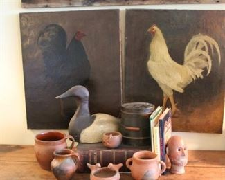 19th century canvases, prize fighting cocks, decoy, early and Caribbean pottery, shaker box