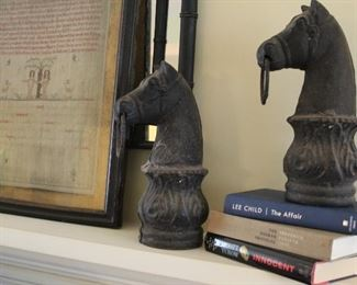 Horse head cast iron hitching post tops