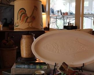 Fantastic stoneware crock with embroidered shade,  contemporary fish platter