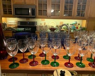 Red and Green HOLIDAY stemware