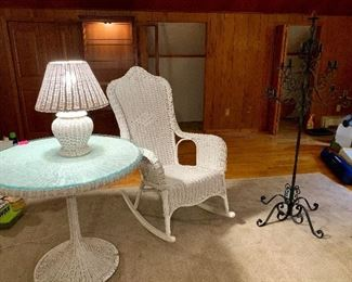 White Wicker Table with Glass Top, White Wicker Rocking Chair & Lamp.  Tall Cast Iron Candelabra
