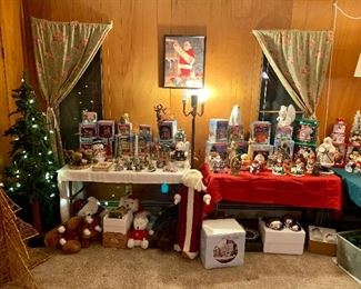 Christmas Room!  Filled with holiday items including Dickensville houses and Thomas Kincaid Ornaments