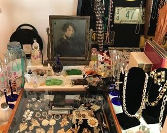 vintage buttons, old blue Ball jars, vintage picture frame, hats and umbrellas, more jewelry
