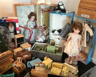 Vintage dolls in beautiful condition with clothing and cases, wood doll house furniture, GI Joe and Spawn